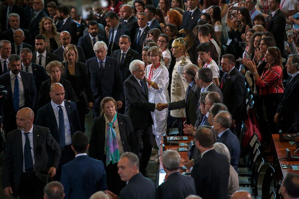 Sergio Mattarella, Presidente della Repubblica, all'interno dell'aula bunker del carcere Ucciardone in occasione del 25° anniversario della strage di Capaci.
