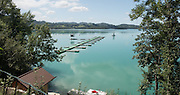 Aiguebelette, FRANCE, General View of the start area at the 2015 FISA World Rowing Championships, Venue, Lake Aiguebelette - Savoie. <br /> <br /> Tuesday.  25.08.2015. [Mandatory Credit. Peter SPURRIER/Intersport Images].