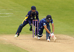 Gloucestershire's Benny Howell sweeps - Mandatory by-line: Robbie Stephenson/JMP - 07966386802 - 04/08/2015 - SPORT - CRICKET - Bristol,England - County Ground - Gloucestershire v Durham - Royal London One-Day Cup
