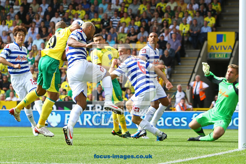 Picture by Paul Chesterton/Focus Images Ltd +44 7904 640267.25/08/2012.Simeon Jackson of Norwich scores his sides 1st goal and celebrates during the Barclays Premier League match at Carrow Road, Norwich.