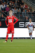 Mariano DIAZ MEJIA (Olympique Lyonnais) and Benjamin BOURIGEAUD (STADE RENNAIS FOOTBALL CLUB) during the French championship L1 football match between Rennes v Lyon, on August 11, 2017 at Roazhon Park stadium in Rennes, France - Photo Stephane Allaman / ProSportsImages / DPPI