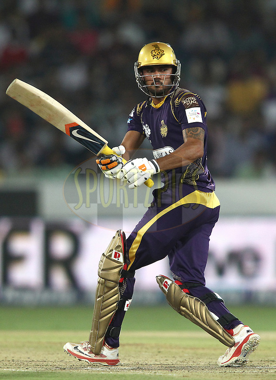 Manish Pandey of the Kolkata Knight Riders during the first semi final match of the Oppo Champions League Twenty20 between the Kolkata Knight Riders and the Hobart Hurricanes held at the Rajiv Gandhi Cricket Stadium, Hyderabad, India on the 2nd October 2014<br /> <br /> Photo by:  Shaun Roy / Sportzpics/ CLT20<br /> <br /> <br /> Image use is subject to the terms and conditions as laid out by the BCCI/ CLT20.  The terms and conditions can be downloaded here:<br /> <br /> http://sportzpics.photoshelter.com/gallery/CLT20-Image-Terms-and-Conditions-2014/G0000IfNJn535VPU/C0000QhhKadWcjYs