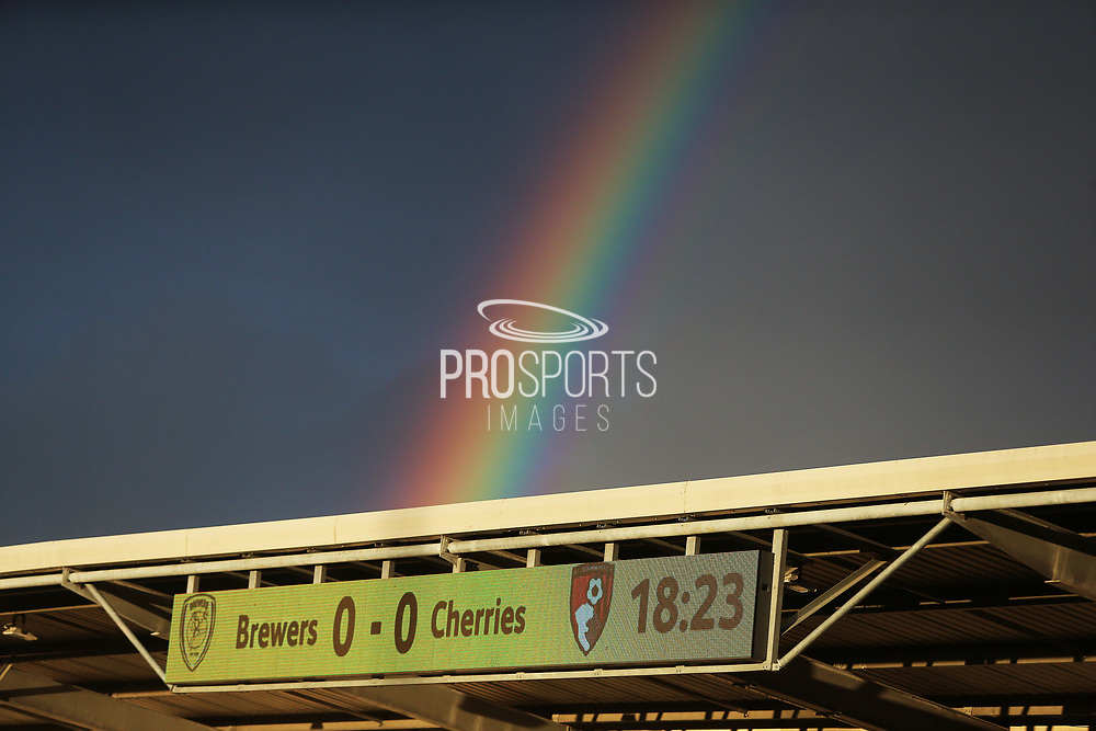 A rainbow appears at the Pirelli Stadium scoreboard during the EFL Cup match between Burton Albion and Bournemouth at the Pirelli Stadium, Burton upon Trent, England on 25 September 2019.