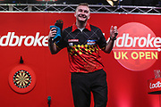 Dimitri Van den Bergh celebrates his third round victory over Kirk Shepherd during the Ladrokes UK Open 2019 at Butlins Minehead, Minehead, United Kingdom on 1 March 2019.