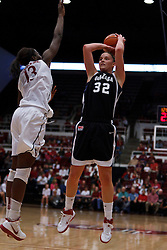 Nov 13, 2011; Stanford CA, USA;  Gonzaga Bulldogs forward Kayla Standish (32) shoots over Stanford Cardinal forward Chiney Ogwumike (13) during the first half at Maples Pavilion.  Mandatory Credit: Jason O. Watson-US PRESSWIRE