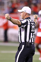 15 October 2016: Referee Darren Haas.  NCAA FCS Football game between Southern Illinois Salukis and Illinois State Redbirds at Hancock Stadium in Normal IL (Photo by Alan Look)