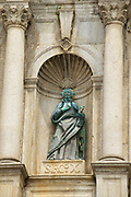 Macau, China - September 09, 2013: Detail of the ruin of the facade of the St. Paul's catholic cathedral in Macau, China.