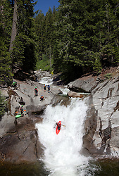 """Kayakers on Silver Creek 2"" - These kayakers were photographed on Silver Creek - South Fork, near Icehouse Reservoir, CA."
