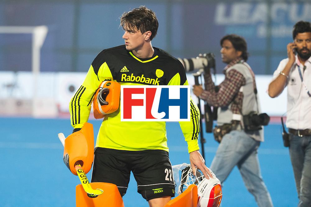 BHUBANESWAR - Teleurstelling bij keeper Sam van der Ven (Ned)na  de Hockey World League Final wedstrijd Nederland-Argentinie (3-3).   COPYRIGHT  KOEN SUYK
