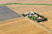 Nederland, Groningen, Gemeente Termunten, 05-08-2014; Woldendorp,  Johannes Kerkhovenpolder, de centraal gelegen modelboerderij. Deze polder is een BV, het gelijknamige akkerbouwbedrijf verbouwt tarwe, luzerne, suikerbieten en consumptieaardappelen. <br /> Johannes Kerkhoven Polder with model farm. This polder is a private company, the farm grows wheat, luzerne, sugar beet<br /> luchtfoto (toeslag op standard tarieven);<br /> aerial photo (additional fee required);<br /> copyright foto/photo Siebe Swart