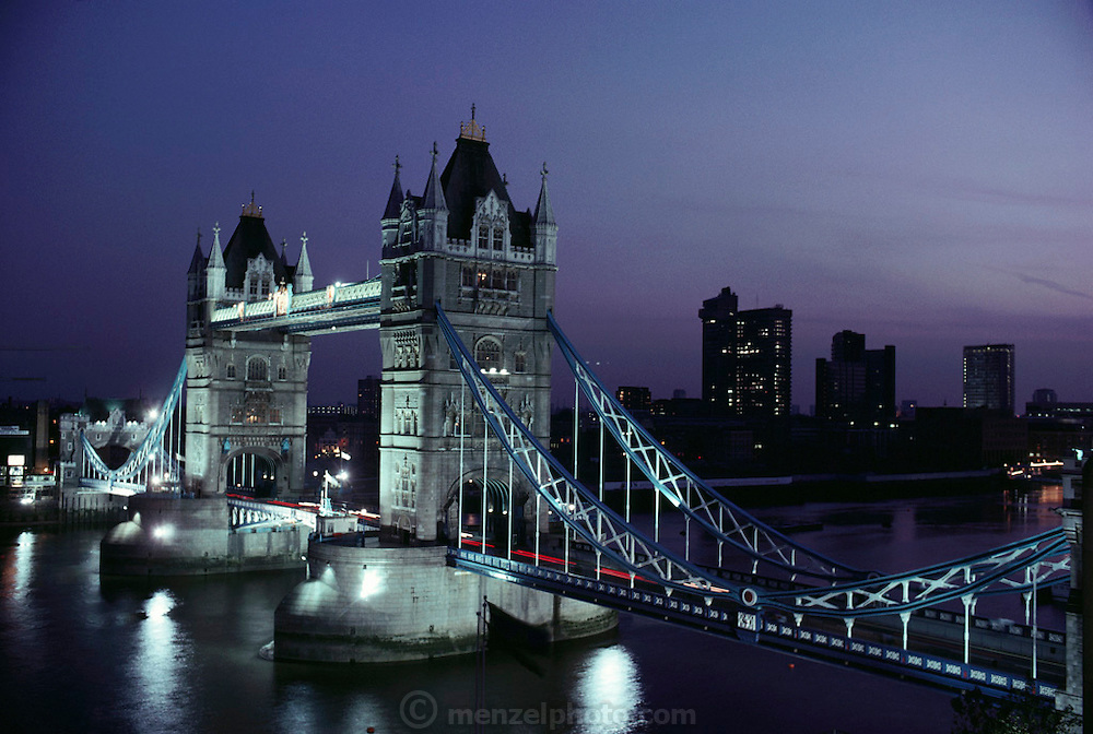 Tower Bridge over the Thames River at dusk. London, England.