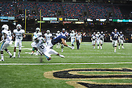 Ole Miss' Randall Mackey (1) scores as he is hit by Tulane's Lorenzo Doss (6) in the first half at the Mercedes-Benz Superdone in New Orleans, La. on Saturday, September 22, 2012. Ole Miss won 39-0...