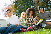 Four students studying outdoors (portrait)