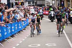 Chantal Blaak (NED) and Audrey Cordon-Ragot (FRA) look to see who'll go first on the final ascent of Cauberg at Amstel Gold Race - Ladies Edition 2018, a 116.9 km road race from Maastricht to Berg en Terblijt on April 15, 2018. Photo by Sean Robinson/Velofocus.com