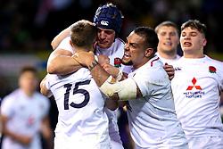 Tom de Glanville of England U20 celebrates with teammates after scoring a try - Mandatory by-line: Robbie Stephenson/JMP - 15/03/2019 - RUGBY - Franklin's Gardens - Northampton, England - England U20 v Scotland U20 - Six Nations U20