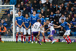Portsmouth prepare to block a free kick from Jon Taylor of Rotherham United - Mandatory by-line: Jason Brown/JMP - 03/09/2017 - FOOTBALL - Fratton Park - Portsmouth, England - Portsmouth v Rotherham United - Sky Bet League Two