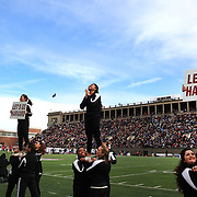 Harvard cheerleaders in action during the Harvard Vs Yale, College Football, Ivy League deciding game, Harvard Stadium, Boston, Massachusetts, USA. 22nd November 2014. Photo Tim Clayton