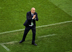 MOSCOW, RUSSIA - Sunday, July 1, 2018: Russia's head coach Stanislav Cherchesov prays for the final whistle after extra-time with the score 1-1 during the FIFA World Cup Russia 2018 Round of 16 match between Spain and Russia at the Luzhniki Stadium. (Pic by David Rawcliffe/Propaganda)