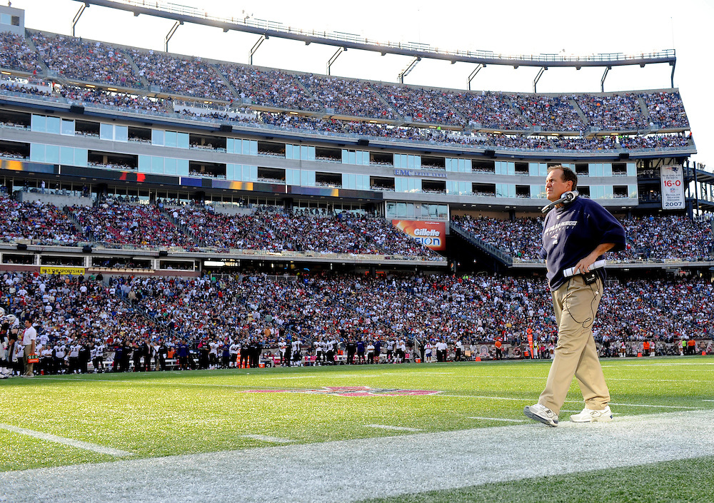 FOXBORO, MA - OCTOBER 04: Head Coach Bill Belichick of the New England Patriots looks on against the Baltimore Ravens at Gillette Stadium on October 4, 2009 in Foxboro, Massachusetts. The Patriots defeated the Ravens 27 to 21. (Photo by Rob Tringali) *** Local Caption *** Bill Belichick