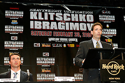 December 4, 2007; New York, NY, USA;  Tom Loeffler, Managing Director for K2 Promotions, speaks at the press conference announcing the February 23, 2008 unification fight between IBF/IBO Heavyweight Champion Wladimir Klitschko (l) and WBO Heavyweight Champion Sultan Ibragimov.  The two fighters will meet at Madison Square Garden.