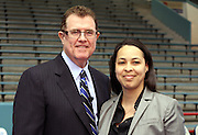 Inge' Garibaldi of M.C. Williams Middle School, pictured with Houston ISD superintendent Terry Grier, is one of the district's Assistant Principals of the Year.
