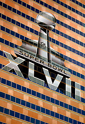 31 Jan 2013. New Orleans, Louisiana USA. .Besnon Tower, overlooking the Mercedes Benz Superdome, home of the New Orleans Saints playing host to the XLVII (47th) Annual Super Bowl with the Baltimore Ravens against the San Francisco 49'ers. With just days to go, NFL branding has taken over downtown as they prepare for the big game..Photo; Charlie Varley