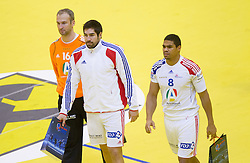 Thierry Omeyer of France, Nikola Karabatic of France and Daniel Narcisse of France after the handball match between France and Iceland in  Main Round of 10th EHF European Handball Championship Serbia 2012, on January 25, 2012 in Spens Hall, Novi Sad, Serbia. (Photo By Vid Ponikvar / Sportida.com)
