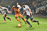 Bolton Wanderers Midfielder, Will Buckley (11) and Hull City Defender, Fikayo Tomori (29) during the EFL Sky Bet Championship match between Bolton Wanderers and Hull City at the Macron Stadium, Bolton, England on 1 January 2018. Photo by Mark Pollitt.