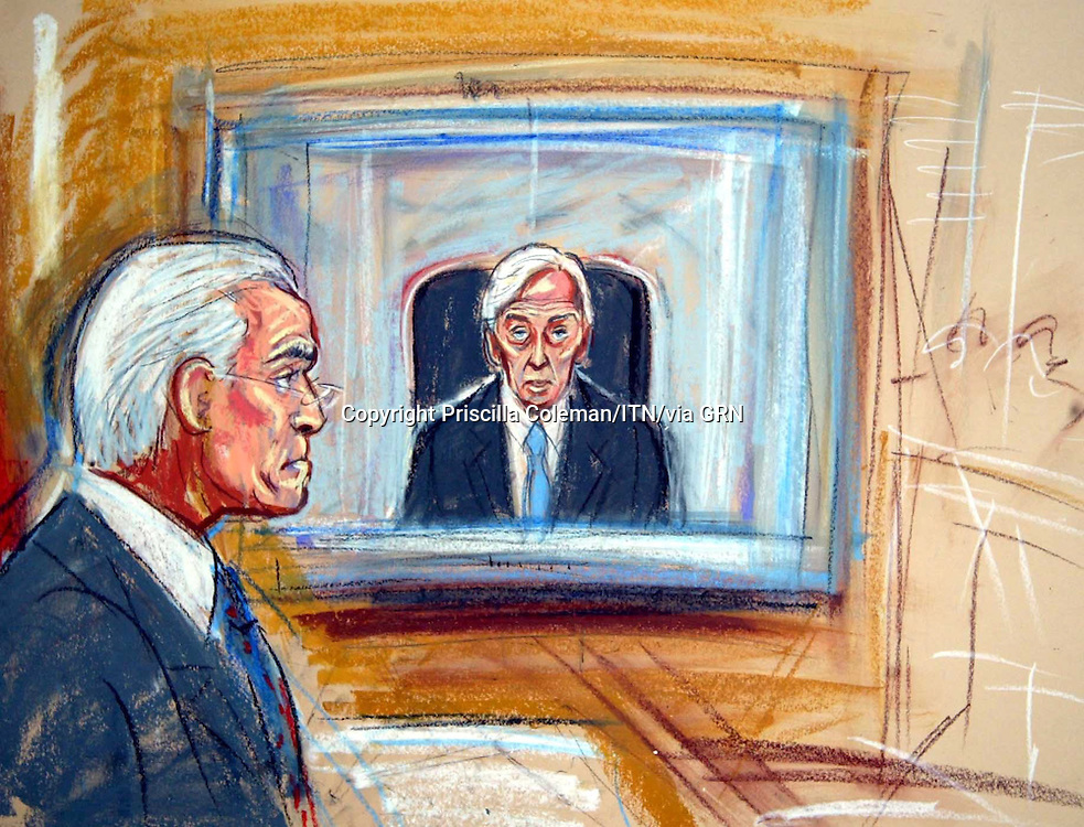 ©PRISCILLA COLEMAN ITV NEWS 11.08.03.*SUPPLIED BY: PHOTONEWS SERVICE LTD OLD BAILEY*.PIC SHOWS: (LEFT) LORD HUTTON AT THE HIGH COURT WHERE TOOK EVIDENCE FROM TERENCE TALYOR DURING THE INQUIRY INTO THE DEATH OF DR DAVID KELLY-SEE STORY.ILLUSTRATION: PRISCILLA COLEMAN ITV NEWS