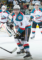 KELOWNA, CANADA - FEBRUARY 8: Riley Stadel #3 of the Kelowna Rockets looks for the pass against the Portland Winterhawks at the Kelowna Rockets on February 8, 2013 at Prospera Place in Kelowna, British Columbia, Canada (Photo by Marissa Baecker/Shoot the Breeze) *** Local Caption ***