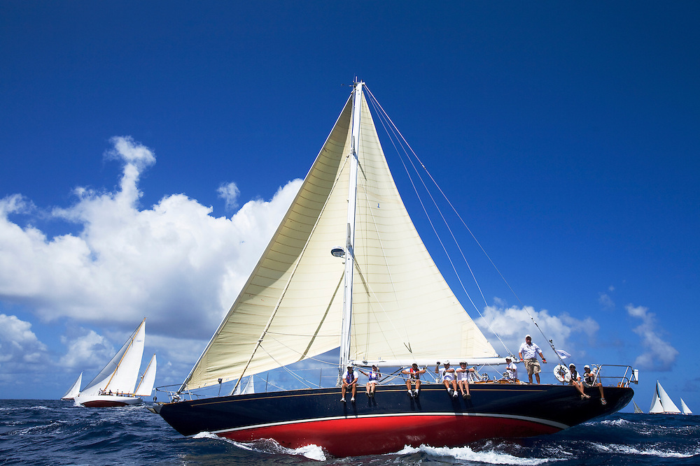 An unidentified sloop rigged sailing yacht during the 2008 Antigua Classic Yacht Regatta . This race is one of the worlds most prestigious traditional yacht races. It takes place annually off the costa of Antigua in the British West Indies.