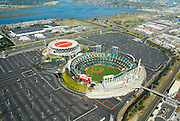 Aerial view of McAfee Coliseum home of the Oakland Athletics (AL); Oakland Raiders (NFL),