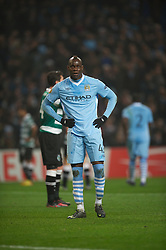 MANCHESTER, ENGLAND - Thursday, March 15, 2012: Manchester City's Mario Balotelli looks dejected against Sporting Clube de Portugal during the UEFA Europa League Round of 16 2nd Leg match at City of Manchester Stadium. (Pic by David Rawcliffe/Propaganda)