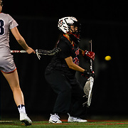 23 March 2018: San Diego State Aztecs goal keeper Katy Sharretts makes a stop on a Liberty shot in the first half. The Aztecs beat the Lady Flames 11-10 Friday night. <br /> More game action at sdsuaztecphotos.com