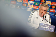 Bayern Munich's Italian coach Carlo Ancelotti attends the Bayern Munich press conference and training before the UEFA Champions League football match between Paris Saint-Germain and Bayern Munich on September 26, 2017 at Parc des Princes stadium in Paris, France - Photo Benjamin Cremel / ProSportsImages / DPPI