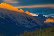Setting sun on the summit of the Colin Range<br /> Jasper National Park<br /> Alberta<br /> Canada