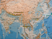 Asia map, with Kathmandu (Nepal), Bangkok (Thailand) and Hong Kong (China)
