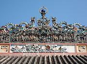 "The roof is decorated with small delicately fashioned porcelain figurines expressing themes from Chinese religion and legends. Lanterns and wooden models of Chinese theaters hang over the entrance.Chùa Bà Thiên H?u (The Pagoda of the Lady Thien Hau) is a Chinese style temple located on Nguyen Trai Street in the Cho Lon (Chinatown) district of Ho Chi Minh City, Vietnam. It is dedicated to Thiên H?u, the Lady of the Sea (""Tian Hou"" as transcribed from the Chinese), who is also known as ""Mazu""."