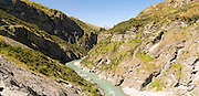 Panoramic view of Skippers Canyon, near Queenstown, Otago, New Zealand; home of the original New Zealand gold rush.