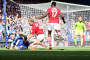 Ipswich Town forward Daryl Murphy bought down by Barnsley defender Marc Roberts for a penalty during the EFL Sky Bet Championship match between Ipswich Town and Barnsley at Portman Road, Ipswich, England on 6 August 2016. Photo by Nigel Cole.