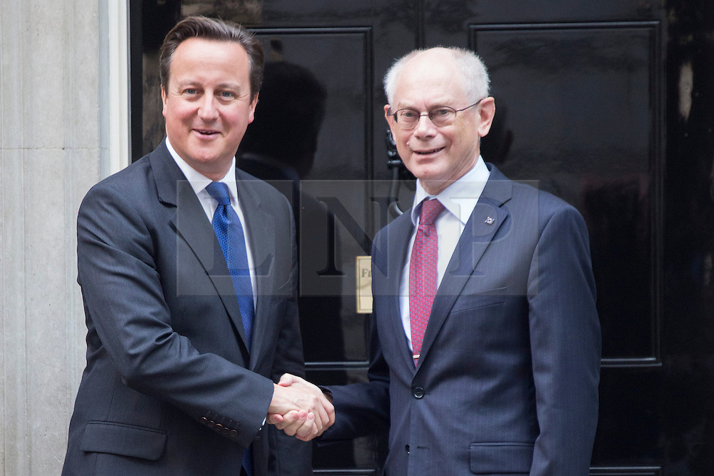 © licensed to London News Pictures. London, UK 08/10/2013. President of the European Council Herman Van Rompuy (right) meeting with Prime Minister David Cameron in Downing Street on Tuesday, 8 October 2013. Photo credit: Tolga Akmen/LNP