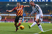 Bradford City defender Anthony McMahon (29) blocks the cross from Millwall striker Aiden O'Brien (22)  during the EFL Sky Bet League 1 match between Bradford City and Millwall at the Northern Commercials Stadium at Valley Parade, Bradford, England on 21 January 2017. Photo by Simon Davies.