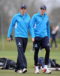 Somerset's Jamie Overton and Somerset's Craig Overton - Photo mandatory by-line: Harry Trump/JMP - Mobile: 07966 386802 - 23/03/15 - SPORT - CRICKET - Pre Season Fixture - Day 1 - Somerset v Glamorgan - Taunton Vale Cricket Club, Somerset, England.