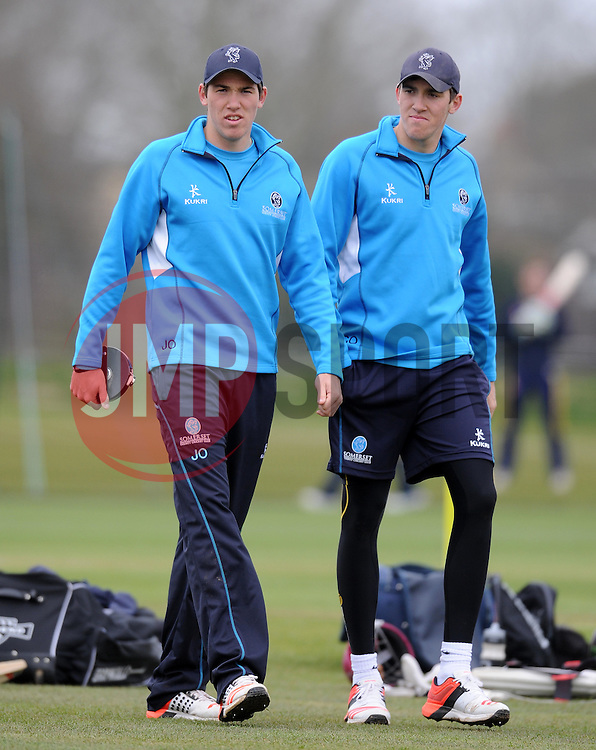 Somerset's Jamie Overton and Somerset's Craig Overton - Photo mandatory by-line: Harry Trump/JMP - Mobile: 07966 386802 - 23/03/15 - SPORT - CRICKET - Pre Season Fixture - Day 1 - Somerset v Glamorgan - Taunton Vale Cricket Club, Somerset, England.