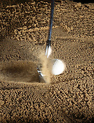 A golf club moving at 97 miles per hour (43.36 m/s) hits a stationary golf ball.  The action is recorded by a fast strobe with a duration of 1/20,000th of a second.  In all collisions momentum is conserved. .