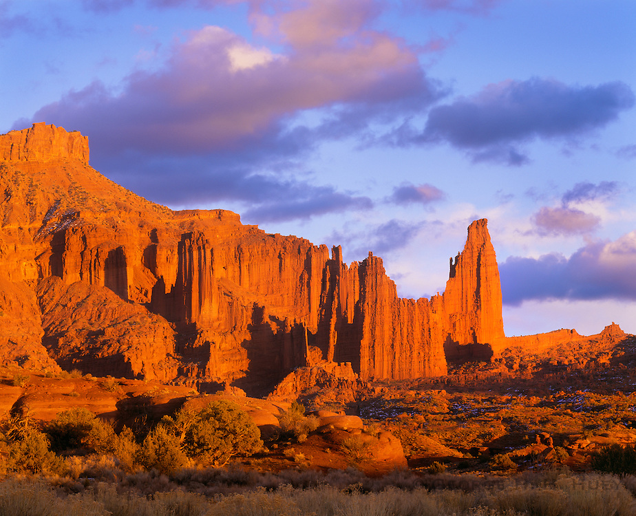 0352-1015 ~ Copyright:  George H. H. Huey ~ Fisher Towers at sunset.  BLM.  Southeast Utah.