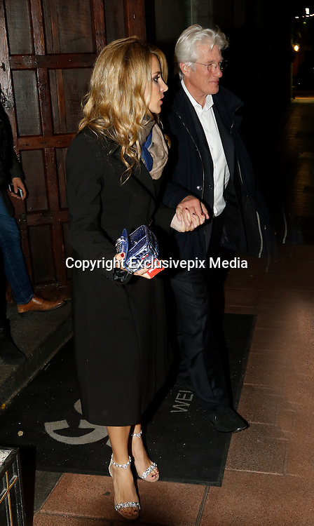 MADRID, SPAIN, 2015, NOVEMBER 23 <br /> <br /> Richard Gere dinner in Madrid with Alejandra Silva<br /> <br /> Richard Gere and Alejandra Silva carried out more than a year. They dined in Madrid, accompanied by Alejandro Amenabar and her husband. The couple arrived clutching the arm and walked quickly without separating. The actor's visit to Spain has aroused much fuss. After several hours all went very smiling after evening. The Spanish director does not hesitate to say that Gere is a good candidate for one of his films<br /> &copy;Exclusivepix Media