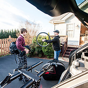 BEDFORD, VA - MAR 3: Ben and Marcus pack up the car wit gear before they head out to Georgia for a stage race, on Friday, Mar. 3. 22, 2017 in Lynchburg, Va. (Photo by Jay Westcott/The News & Advance)