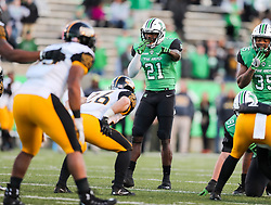 Nov 25, 2017; Huntington, WV, USA; Marshall Thundering Herd linebacker Artis Johnson (21) waits before a snap during the third quarter against the Southern Miss Golden Eagles at Joan C. Edwards Stadium. Mandatory Credit: Ben Queen-USA TODAY Sports