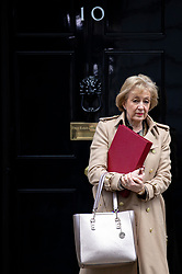 © Licensed to London News Pictures. 11/02/2020. London, UK. Secretary of State for Business, Energy and Industrial Strategy Andrea Leadsom leaves 10 Downing Street after a Cabinet meeting. The Prime Minister has announced that the HS2 rail project will go ahead. Photo credit: Rob Pinney/LNP